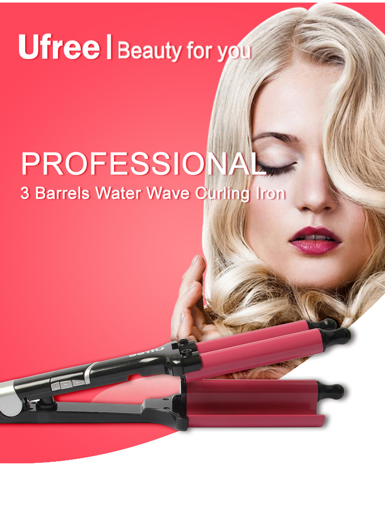 Professional Hair Roller Ufree Three Barrels Hair Curler