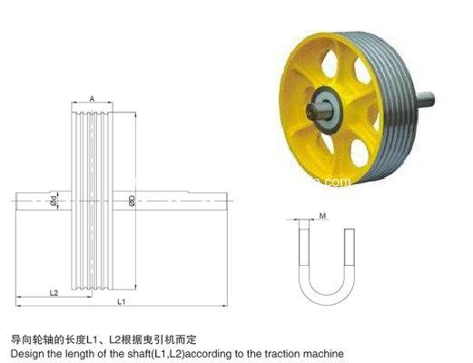 Elevator Parts, Nylon/Cast Iron Elevator Deflector Sheave, Traction Sheave (OS13)