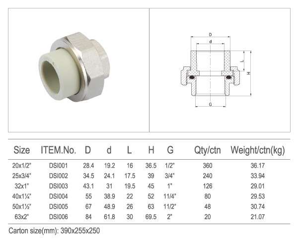 PPR Socket Brass Union Pipe Fittings