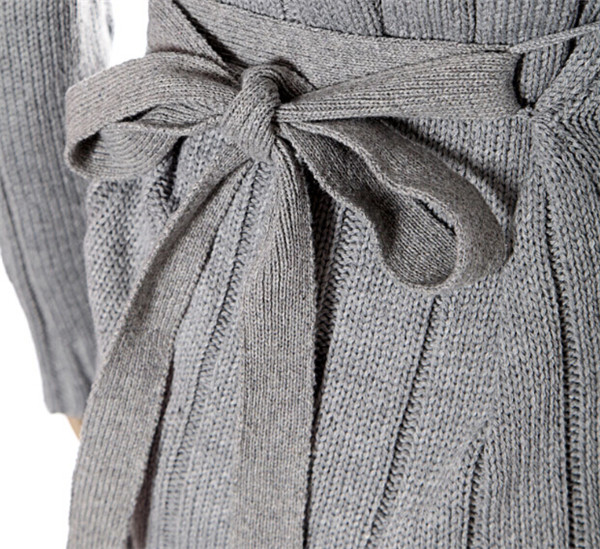 Latest Single Breasted Casual Long Trench Knitting Women's Cardigan with Hood
