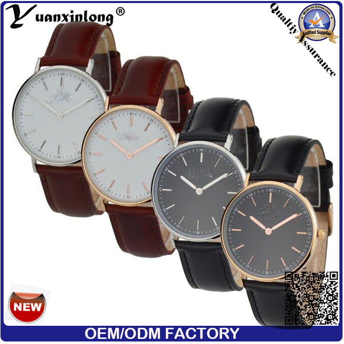 Yxl-567 Fashion Watch Round Steel Case Men Women Leather Quartz Analog Wrist Watch