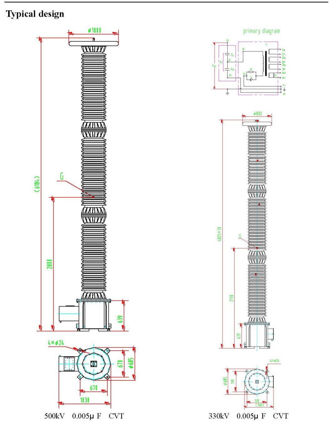 Capacitor Voltage Transformer (CVT) up to 500kv