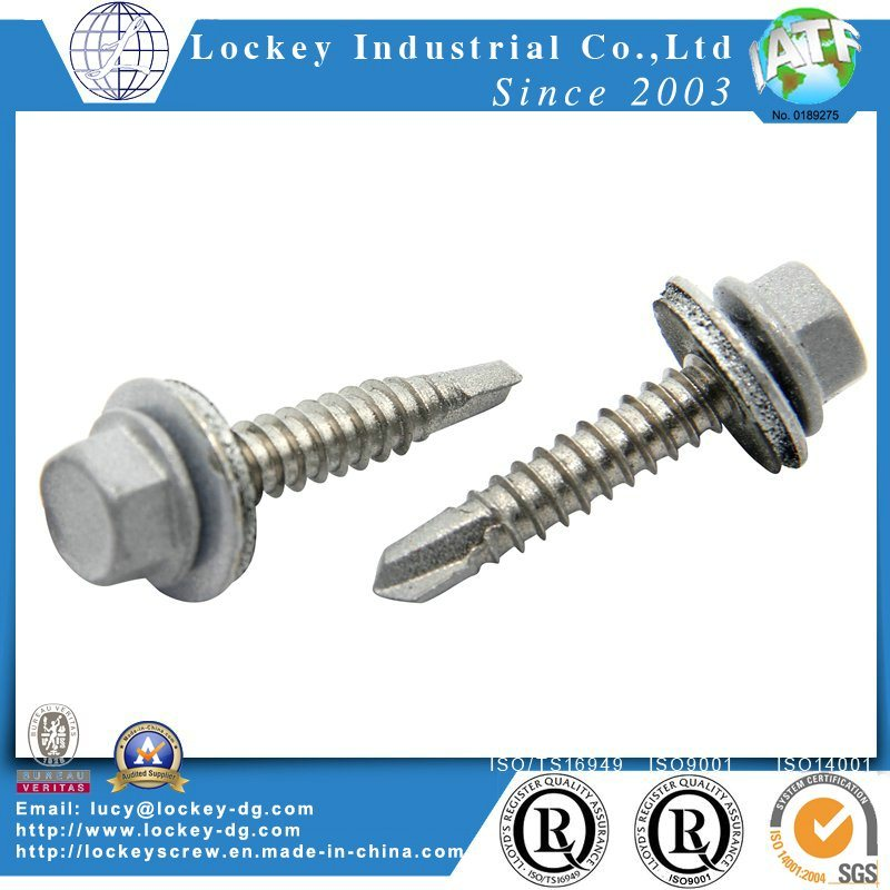 Painted Hex Washer Head Self Drilling Screw with EPDM Bonded Washer