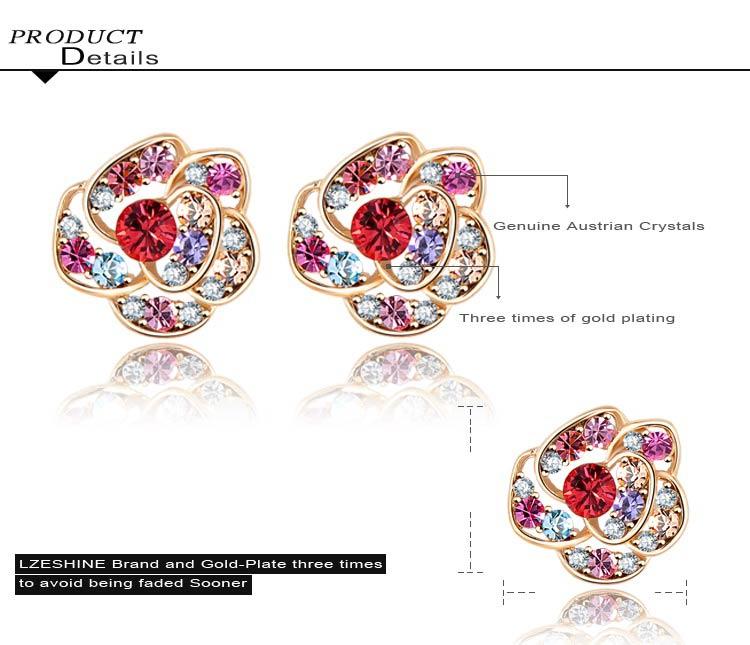 Cheap Wholesale Flower Shaped Crystal Stud Earring for Women (ER0004-C)
