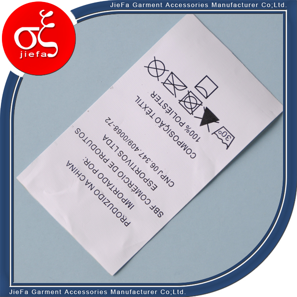 Wholesale Roll Polyster Printed Washable Care Label