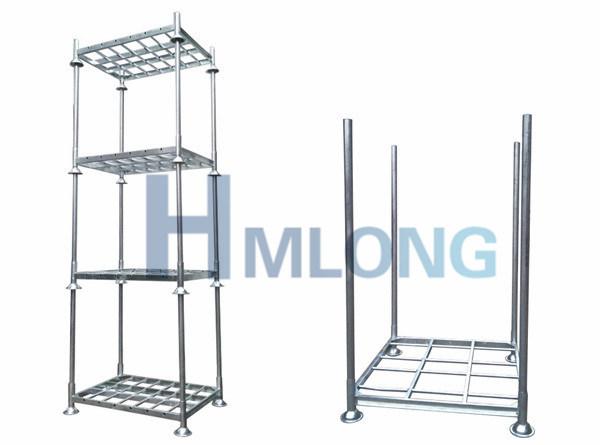 Warehouse Galvanized Folding Steel Storage Stacking Rack