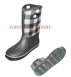 Fashion Unisex Black and White Neoprene Plaid Boots (RB003)