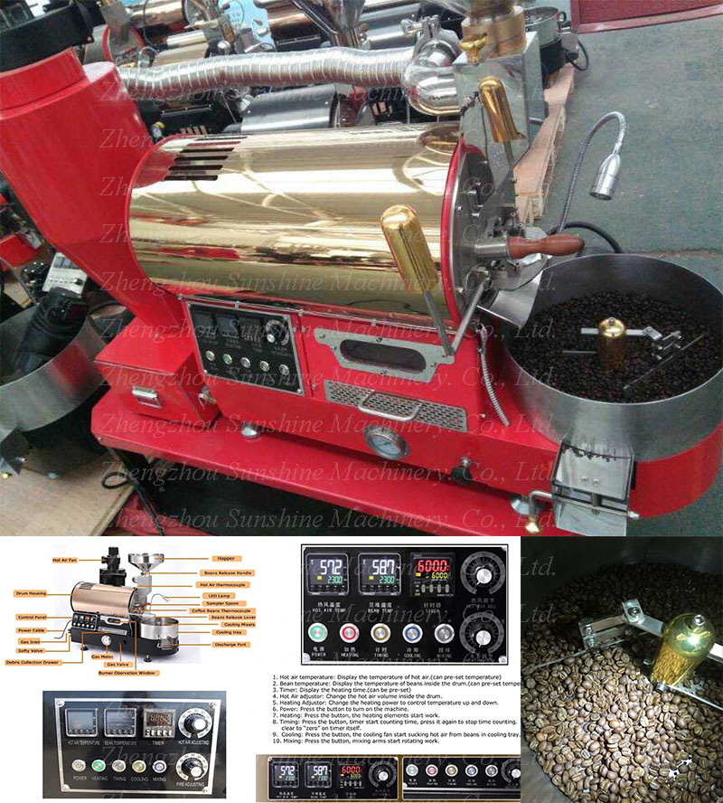 Top Quality Durable 304 Stainless Steel 1kg Small Coffee Roaster