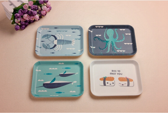 Bamboo Fiber Tableware Tray with Printed (BC-TP1006)