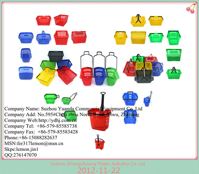 Luxury Supermarket Plastic Shopping Basket with Wheels