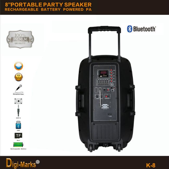 Popular Wireless Bluetooth Trolley Portable Plastic Mini Mobile DJ Speaker