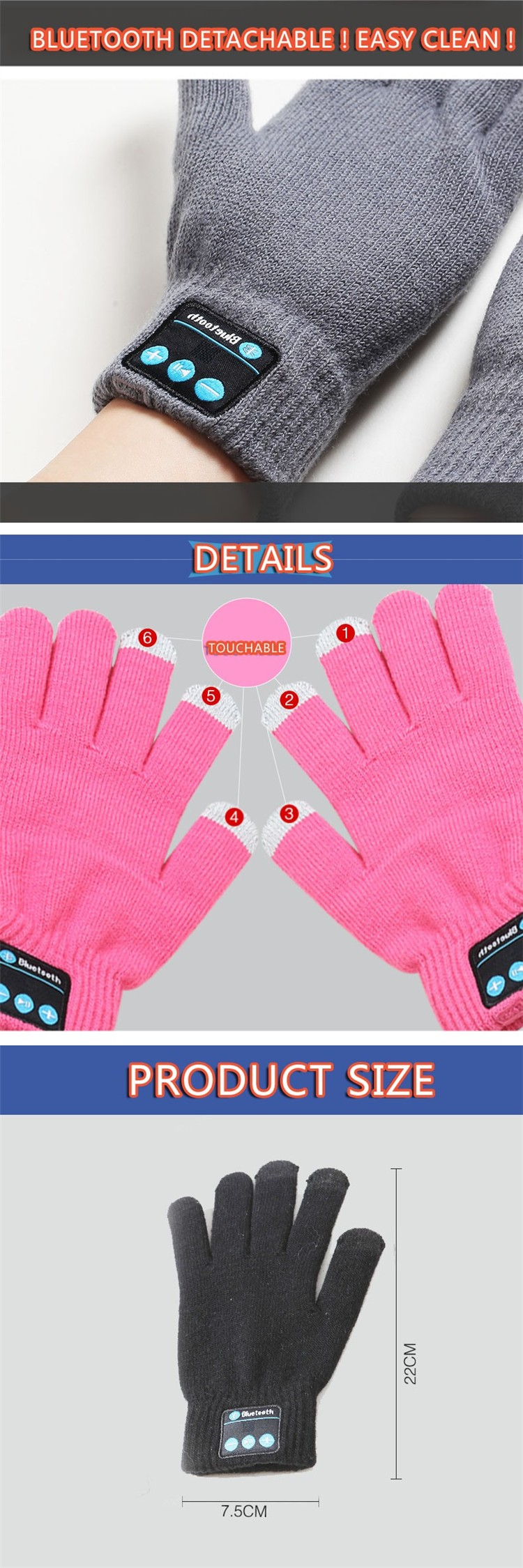 Mobile Phone Earphones Bluetooth Gloves