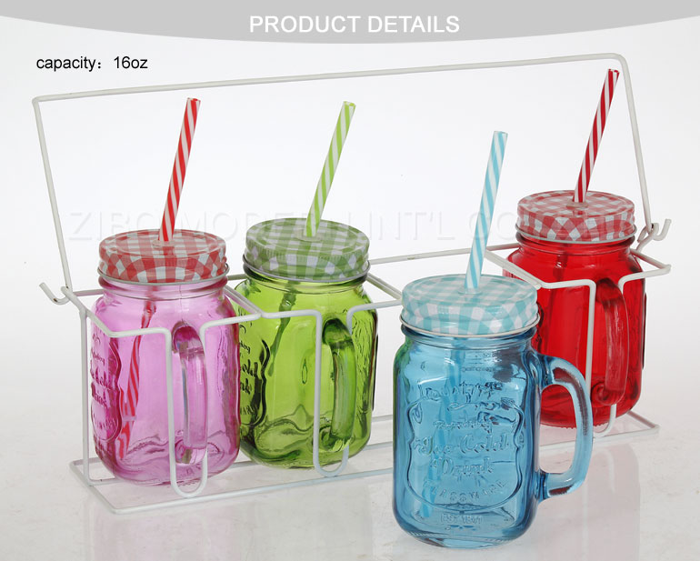 Wholesale Set of 4 Clear Glass Handle Mason Jars Mugs with Lid and Metal Basket