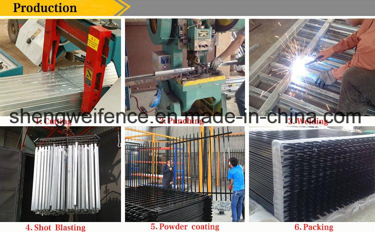 2.4 Length 1.8m Height Black Galvanized Steel Fence