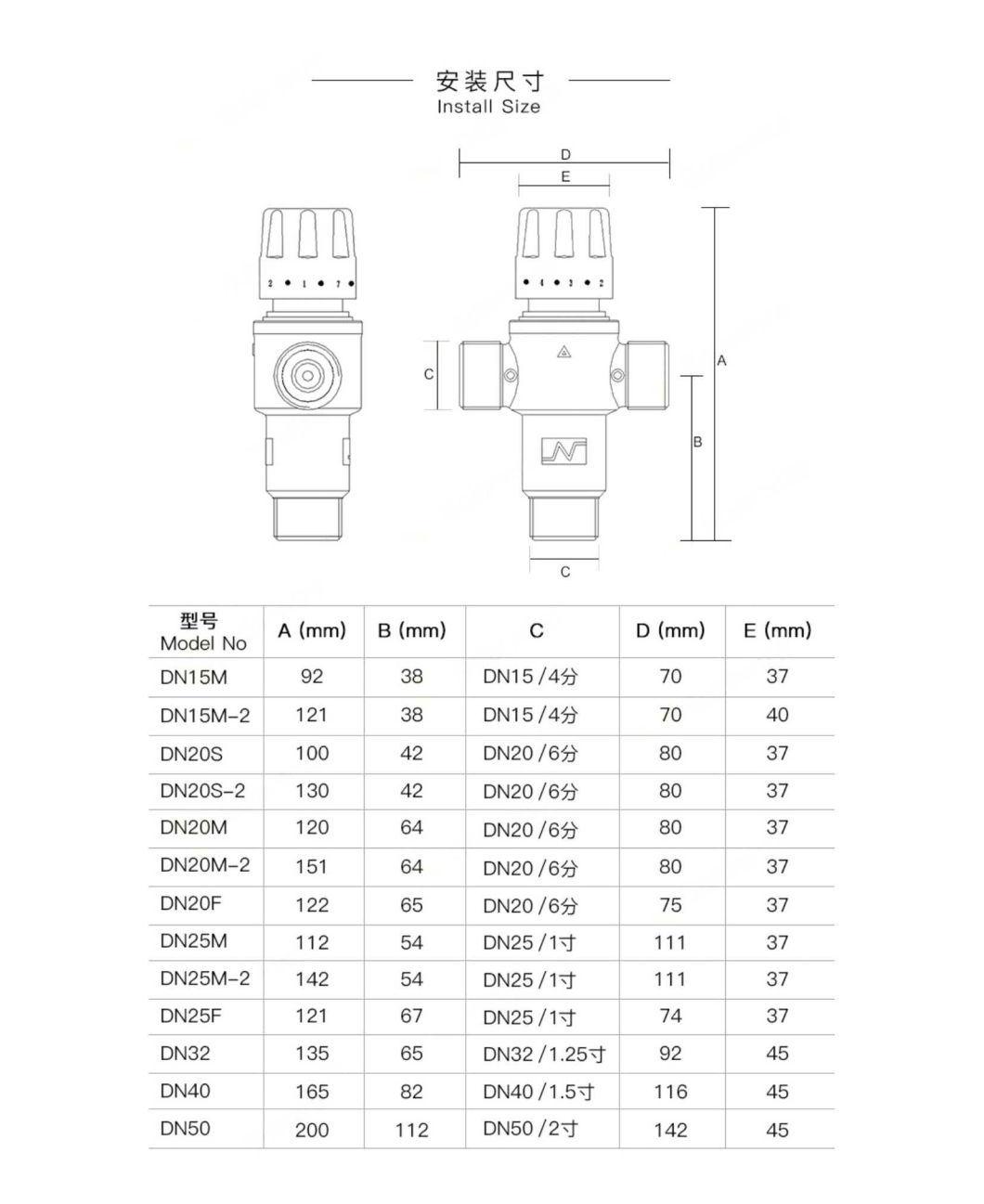 35-55degrees Water Temperature Control of Thermostatic Valve