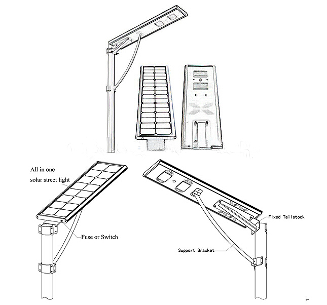 High Efficiency 5 Years Warranty Integrated Solar LED Street Light 80W