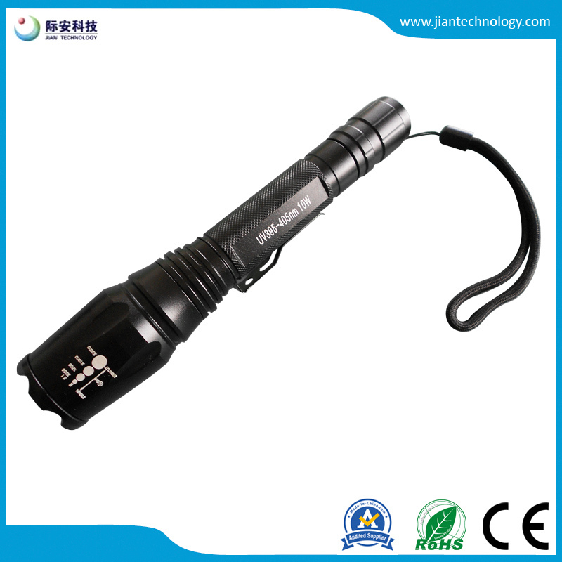 10W Zoomable 395nm High Power LED Flashlight for Searching Detective