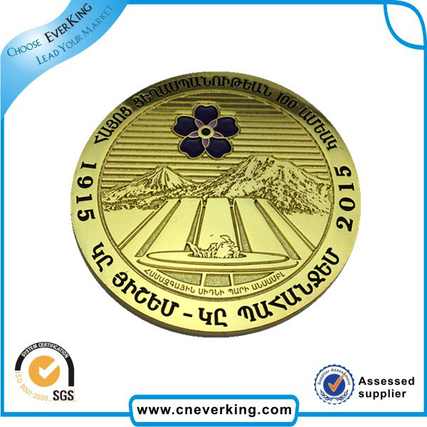 Fast Delivery Plated Gold Color Stickers Metal Badge for Sale