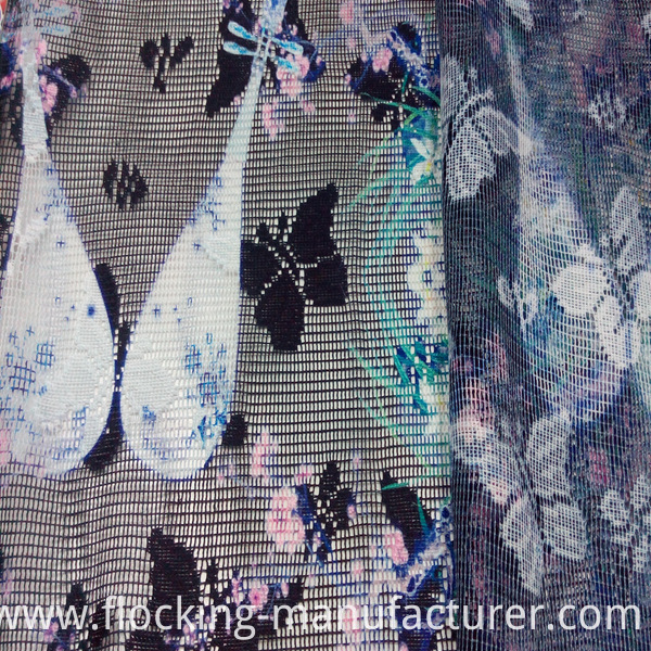 Polyester Printed Mesh Lace Fabric for Home Textile and Garment