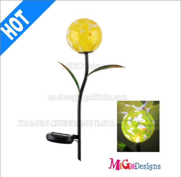 Excellent Glass Ball Shape Solar Lights Garden Stakes