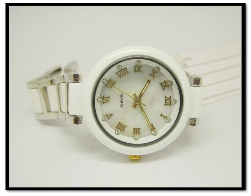 Ceramics Watch, Ceramics Ladies Watch with Stainless Steel ,Imitated Ceramic Quartz Analog Watch White