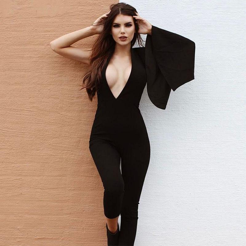 Ladies V Neck Sexy Jumpsuit Evening Wear