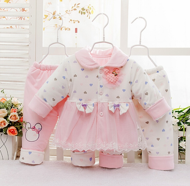 Cotton 3PCS Baby Suit with Lace and Bow Tie