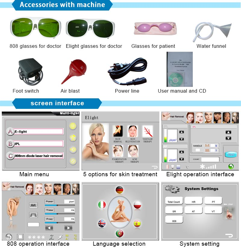 2017 Top Selling Machine Elight+808nm Diode Laser with Hair Removal Skin Rejuvenation (10bars)