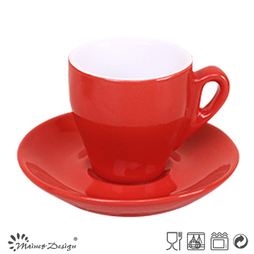 Matte Ceramic Coffee Mug & Saucer with Metal Rack