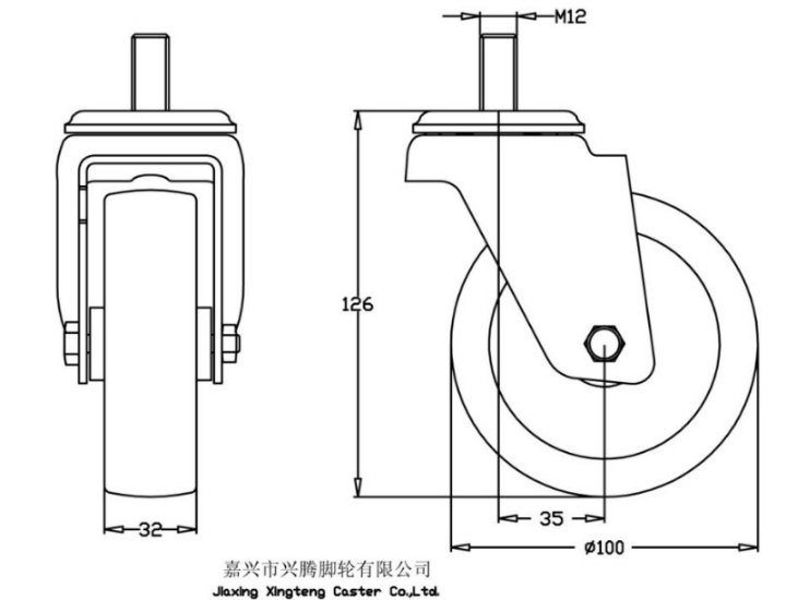 Stainless Steel Series - TPR Caster
