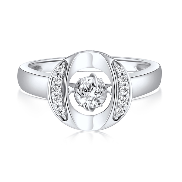 O Shape 925 Silver Rings Jewelry Dancing Diamond