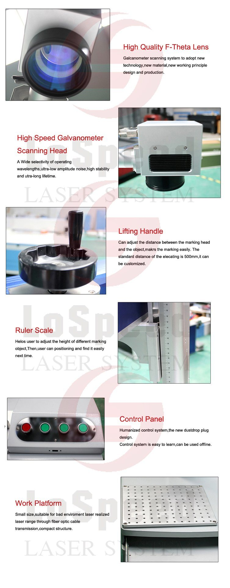 Laser Printer Accessories with Fume Extractor, F-Theta Lens, Rotary Fixture
