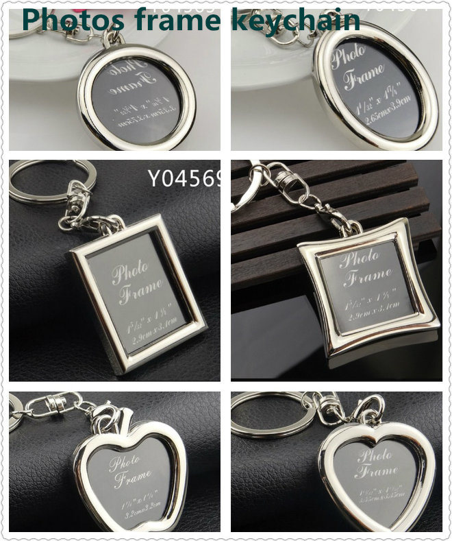 Heart Shaped Metal Photos Frame Keychain for Wedding