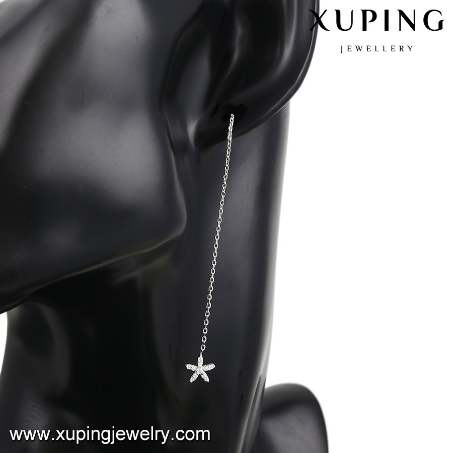 Xuping Stylish Girlish Wear Latest Design Vogue Snowflake Light Weight Line Dangle Earring with Rhodium Plated