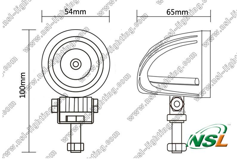 2 Inch LED Work Light, 10W LED Mini Light, LED Euro Light (NSL-1001D-10W)