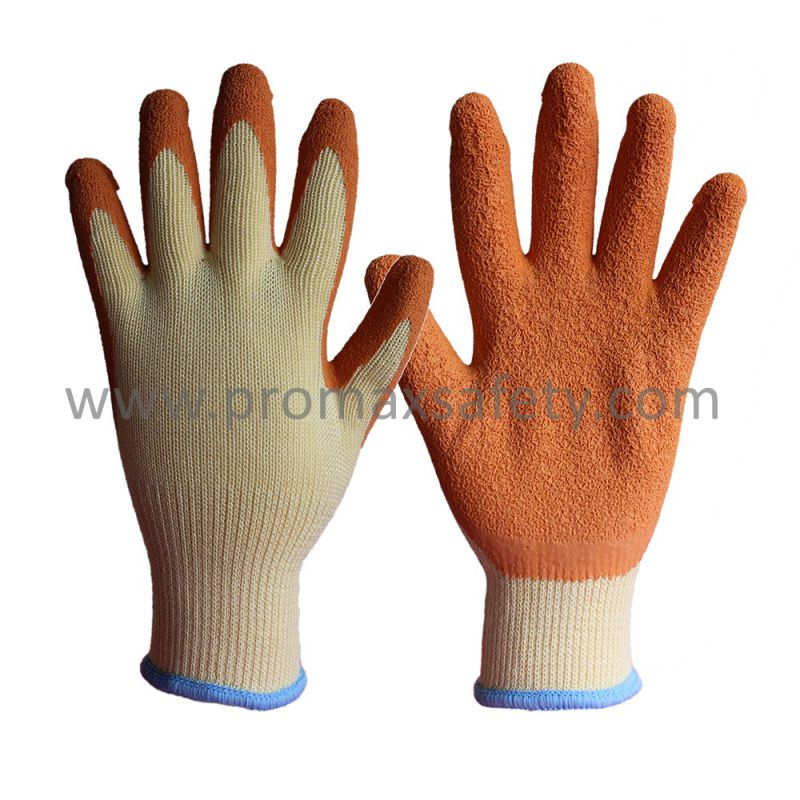 10 Gauge Beige Tc Knitted Gloves with Orange Crinkle Latex Palm Coated