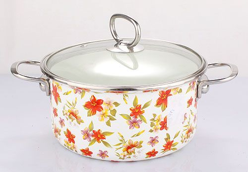 Enamel Casserole with All Flower Decals (LF-A001)