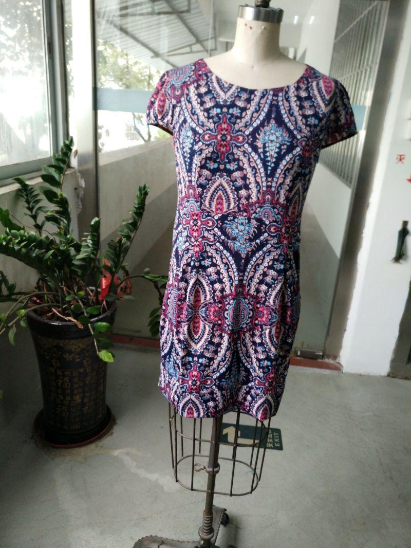 Spring Fashion Latest Colourful Geometrical Pattern Elegant Women's Dress