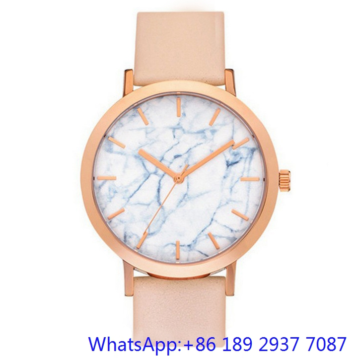 Top-Quality Stainless Steel Watches Whit Marble Dial, Genuine Leather Band Ja-15064
