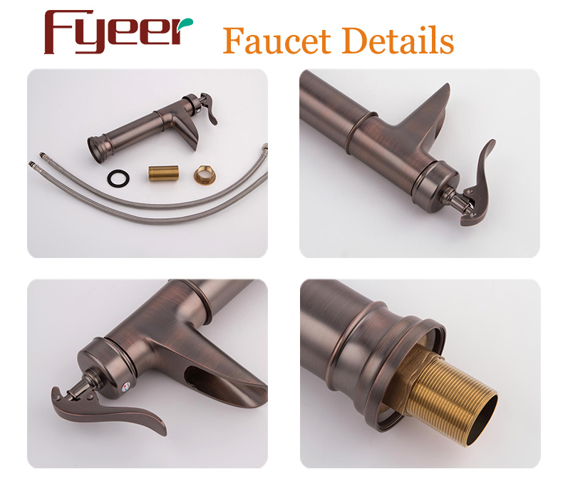 Fyeer High Quality Antique Brass Waterfall Basin Faucet