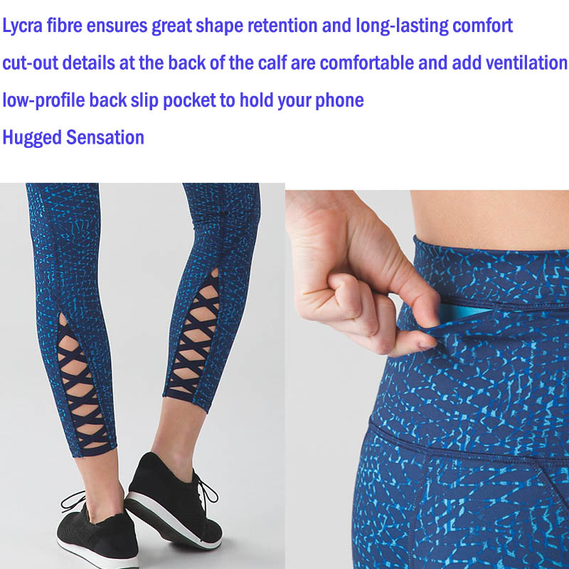 Ladies Fitness Yoga Pants Sports Leggings with Lattice on The Shin