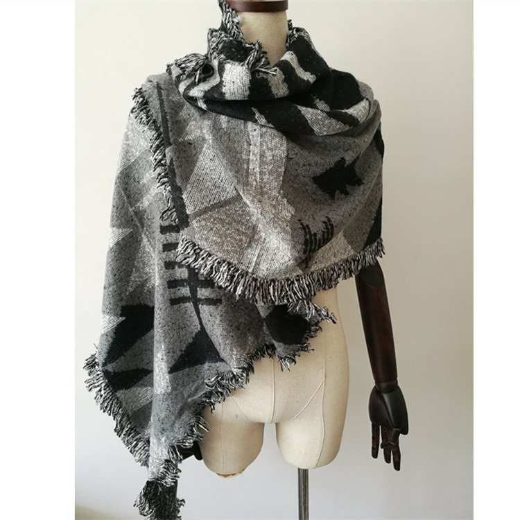 Women's Cashmere Like Knitted Winter Heavy Triangle Geometry Printing Shawl Scarf (SP300)