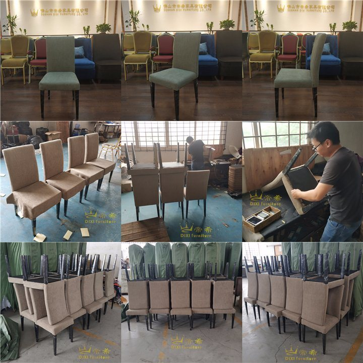Wholesale Upscale Modern Fabric Upholstered Dining Imitated Wooden Chair