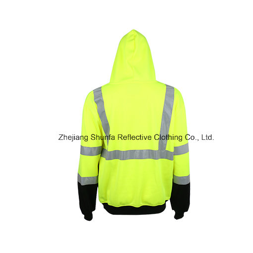 100% Polyester Fleece Men′ S Long Sleeve Safety Hoody with Reflective Tape