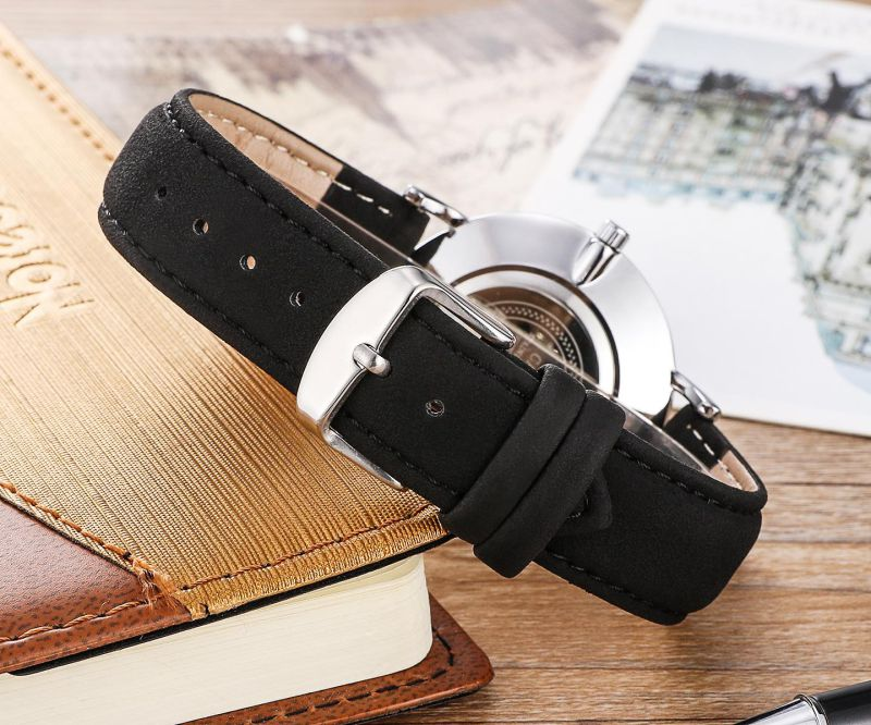 6855 Fashion Wristwatch Gold Silver Black Case Available