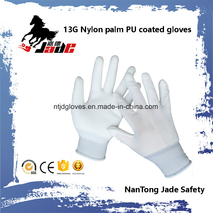 13G Polyester Palm PU Coated Cheap Glove En 388 4131