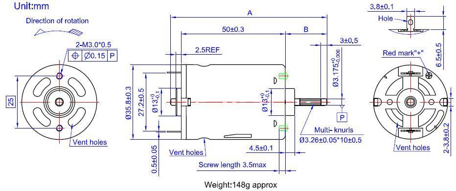 6V Electric Motor RS-540sh-7022 DC Motor for Gardening Tool