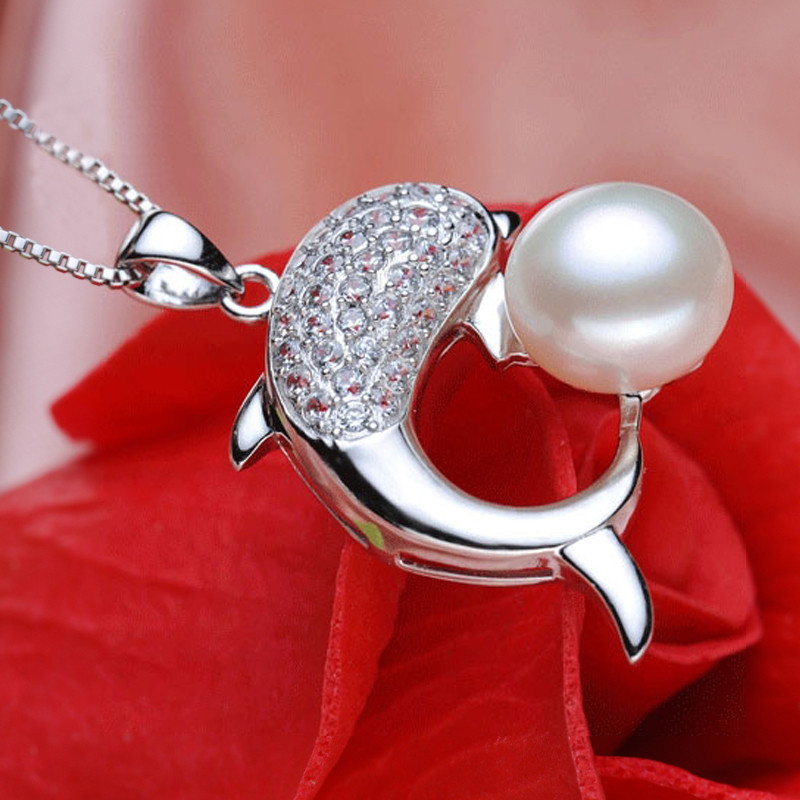 Cute Dolphin Shaped Pearl Pendant AAA Semi Round 9-10mm Freshwater Fashion Pearl Pendant