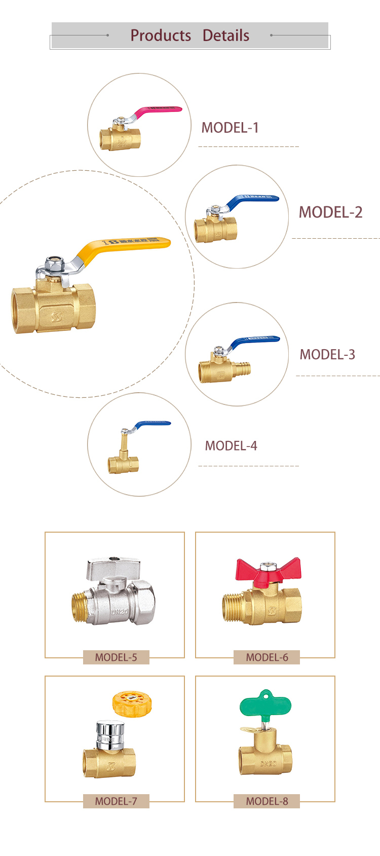 Ss2180 Bsp NPT Thread Magnetic Brass Lockable Ball Valve