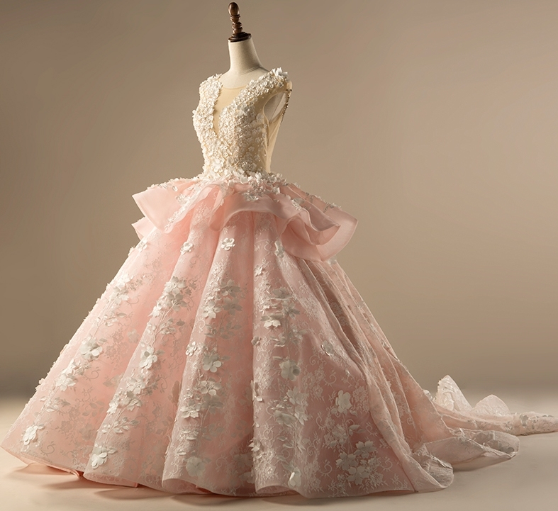 Pink Lace Floral Bridal Ball Gowns Luxury Arabic Flowers Puffy Wedding Dress 2018 Lb18112